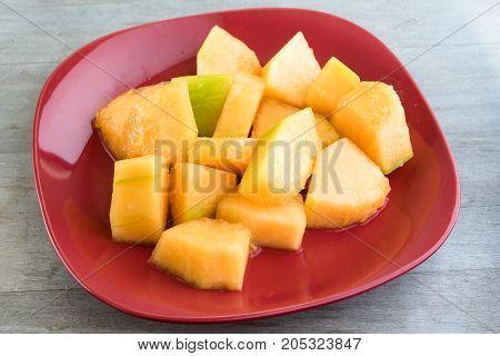 Toronto, Canada: Cantaloupe Melon Salad Close Up