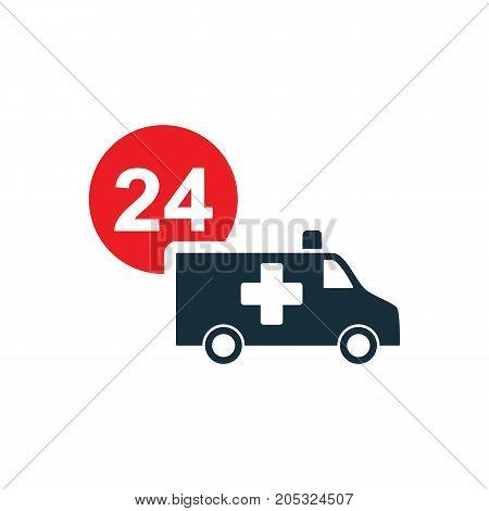 Ambulance Van Nonstop Icon On White Background