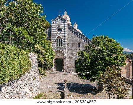 The facade of the church of San Lorenzo in Portovenere (Liguria Italy)