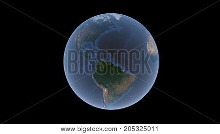 Atlantic Ocean between Europe Africa and America on the Earth ball isolated globe 3D rendering