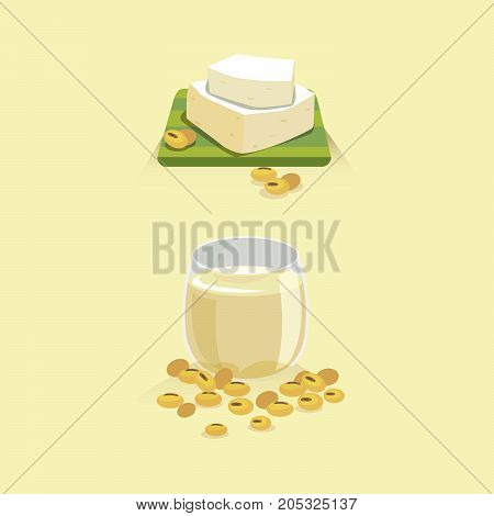 Soy milk and tofu with soy beans.