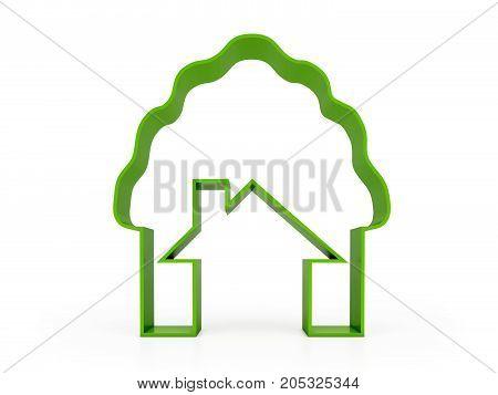 green home in tree 3d model render
