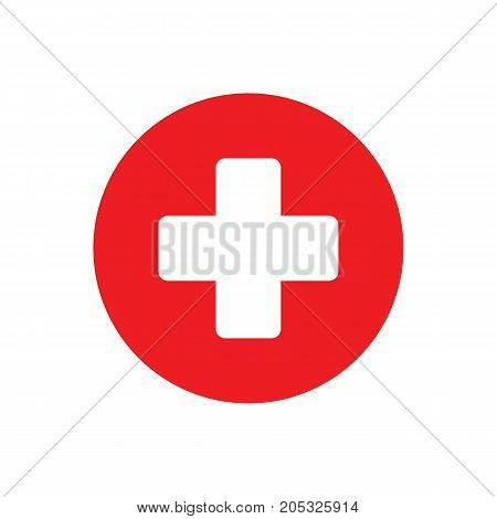Medical Sign Plus Red Icon On White Background