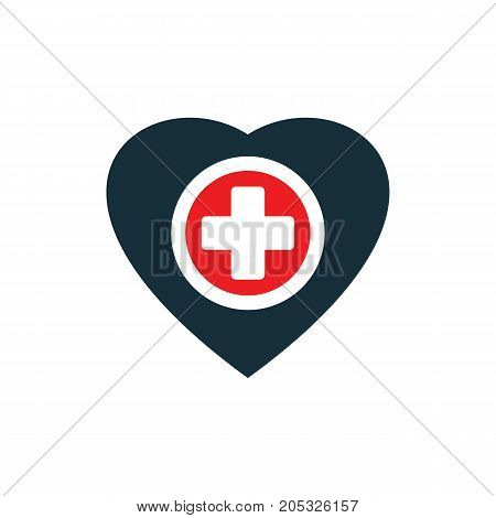 Plus Sign Inside Heart Icon On White Background