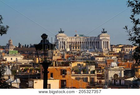 The panoramic aerial wonderful view of Rome with Altar of the Fatherland in Rome, Italy