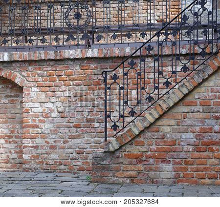 brick staircase historical architecture detail art background