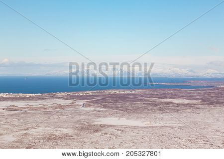Aerial view Iceland winter season natural landscape background