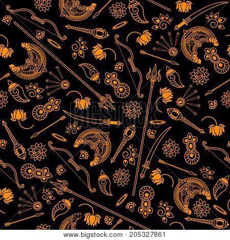 Seamless Pattern  Durga Indian