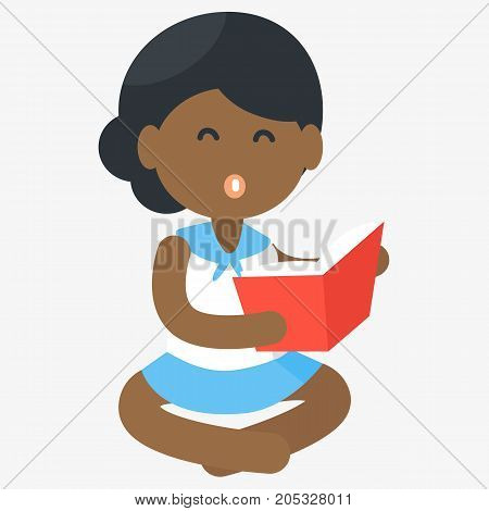 Happy African girl reading open book vector illustration. Poster raises awareness of need for improvement of education provided to African children