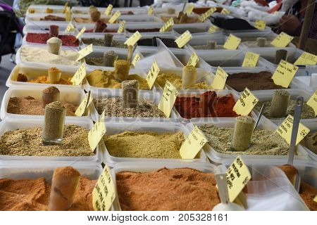 Lot of different spices on a market in the North of Greece.