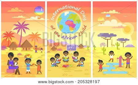 International Day of African Child set with kids who read books, play with water and share fruits in village vector illustrations.