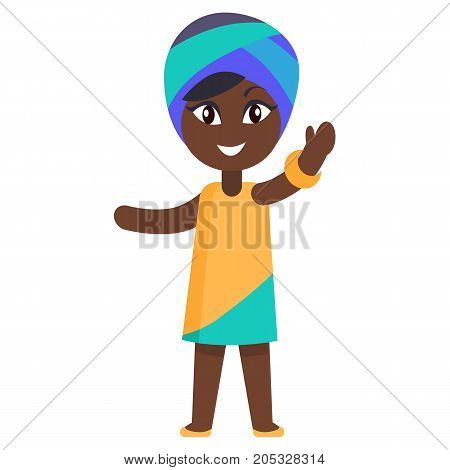 Happy little afro-american girl in yellow dress and blue headgear celebrates international day of african child. Poster with young black female in cartoon style