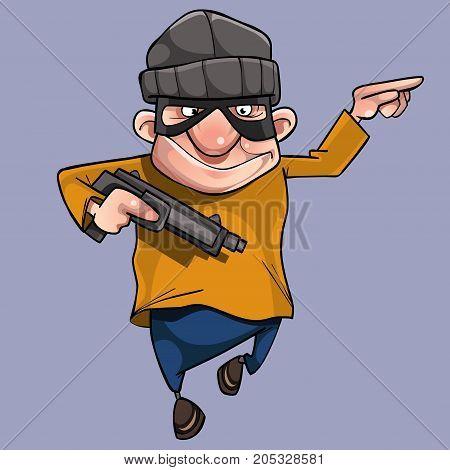 cartoon cheerful man in bandit mask with gun in hand