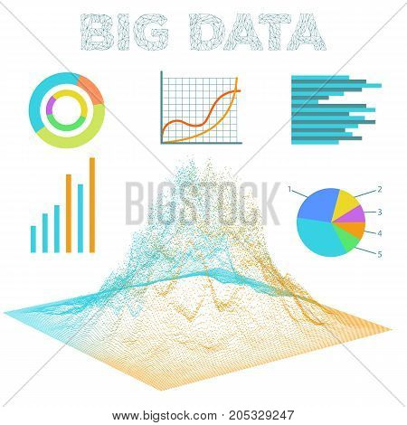 Big data visualization. Diagrams bar and line graphics. Analysis of information. Visual data infographics design. Science and technology vector background.