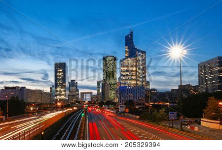 The business district La Defense is Europe largest purpose built business district with 72 steel and glass buildings of which 18 are completed skyscrapers.