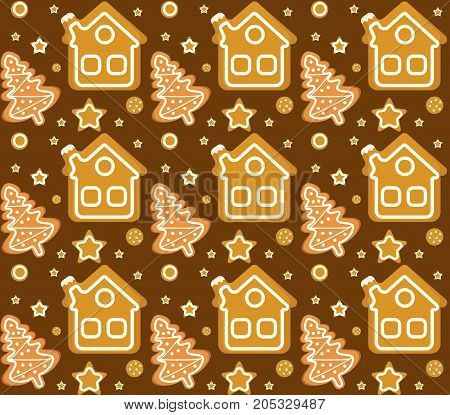 Christmas seamless pattern with gingerbread house and cookie. Cookies endless texture. Winter Holidays, wallpaper, background. Vector illustration