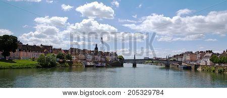 Chalon-sur-Saone and Saone-et-Loire river, Macon region, France