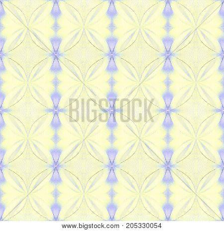 Abstract geometric seamless background. Regular diamond and circles pattern pastel yellow and purple.