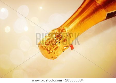 Champagne neck isolated, Lying champagne bottle isolated
