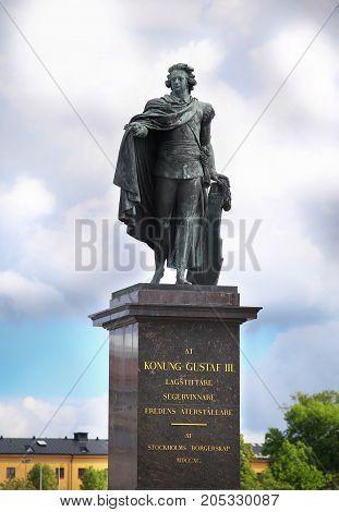 Statue of Konung Gustaf III in Stockholm Sweden.