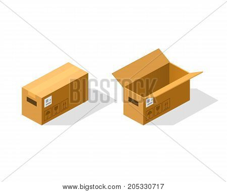 Open and closed paper box isometric. Vector Illustration