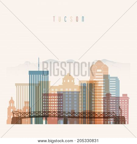Tucson state Arizona skyline detailed silhouette. Transparent style. Trendy vector illustration.