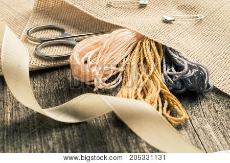 Accessories For Hobbies: Tape, Scissors, Needle And Pin. Sewing Tools