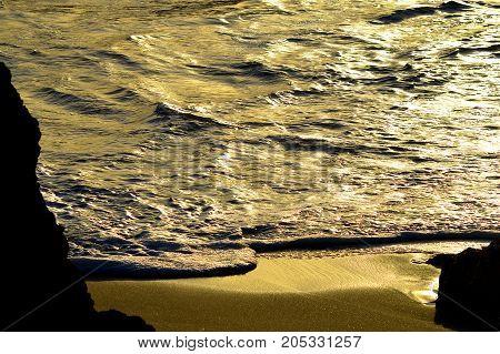 Monochromatic view of Sietskes Beach on the Algarve coast