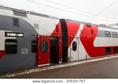 Moscow Russia - December 02 2015: The two-story Moscow-Voronezh train of the Russian Railways stands at the empty platform.