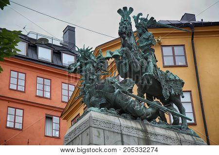 Statue of Sankt Goran & the Dragon in Stockholm Sweden