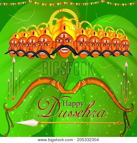 vector illustration of Ravana in Happy Dussehra festival of India