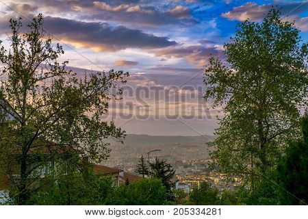 Overlooking Ankara, Turkey on a summer day with clouds and blue sky