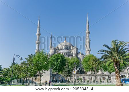 The Blue Mosque, Sultanahmet Camii, Istanbul, Turkey on a clear day with blue sky