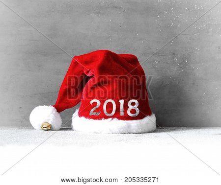 Christmas decor with santa hat. Vintages background