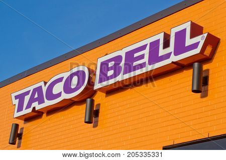 STEWIACKE CANADA - SEPTEMBER 22 2017: Taco Bell restaurant sign. Taco Bell is a fast food restaurant chain based in California.