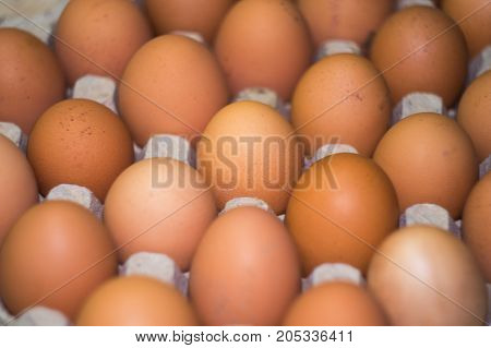 eggs background Close-up Top view Chicken eggs