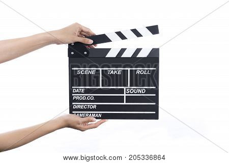 woman hold movie clapper on isolated and white background; film cinema and video photography concept