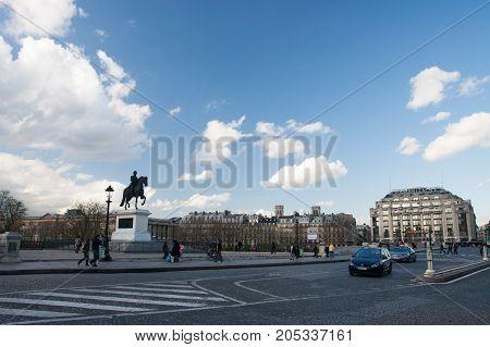 France, Paris - Spring 2008: Place du Pont Neuf and Statue equestre d'Henri IV. Paris. France