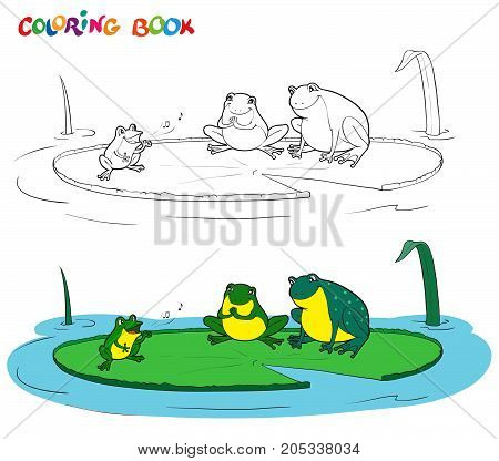 Vector black and white coloring book of a frogs family. Illustration