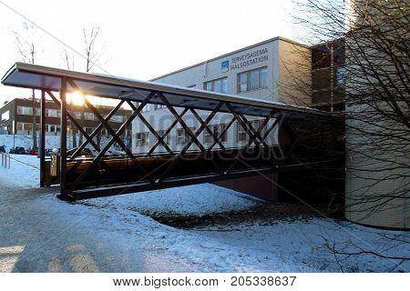 Bridge to the entrance of local Health Center.