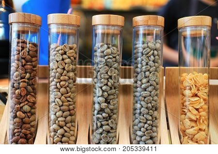 Coffee Beans Several Strains in Glass Tubes Coffee Abstract