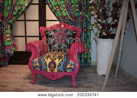 bright chair, furniture in an interior, pink and velvet chair, pink home, fashionable chair, interior room, interior home, luxury home