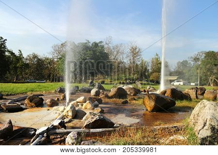 Hot Spring Fountain at North of Thailand