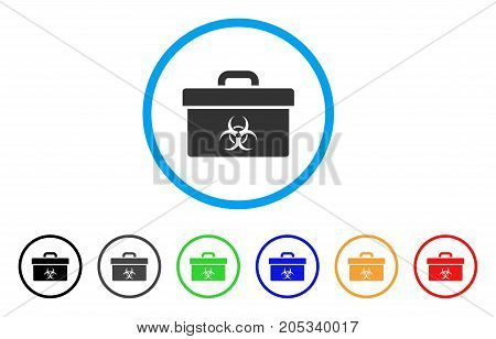 Biohazard Toolbox rounded icon. Style is a flat biohazard toolbox gray symbol inside light blue circle with black, gray, green, blue, red, orange variants.