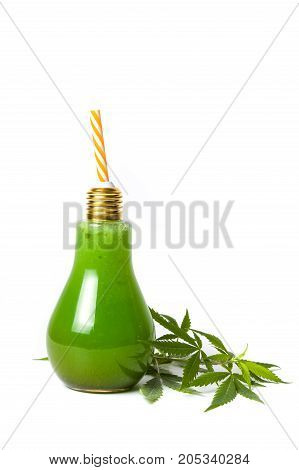 Green Marijuana Juice On White