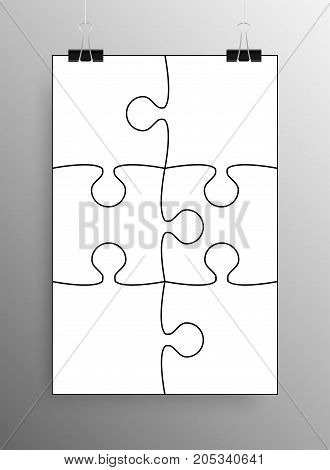 Vertical Poster Banner A4 Sized Vector Paper Clips. White Puzzle Pieces Arranged in a Square - Vector Illustration. Jigsaw Puzzle Blank Template or Cutting Guideline. Vector Background.