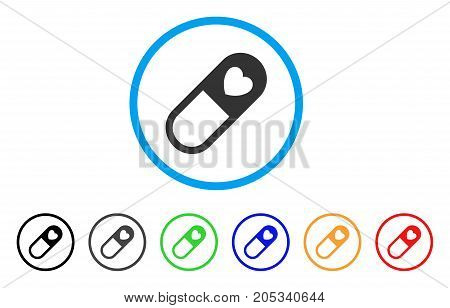Love Granule rounded icon. Style is a flat love granule gray symbol inside light blue circle with black, gray, green, blue, red, orange variants. Vector designed for web and software interfaces.