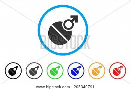 Male Erection Tablet rounded icon. Style is a flat male erection tablet gray symbol inside light blue circle with black, gray, green, blue, red, orange versions.