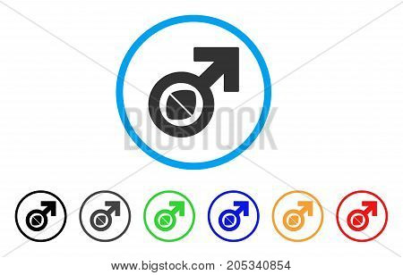Male Potency Tablet rounded icon. Style is a flat male potency tablet grey symbol inside light blue circle with black, gray, green, blue, red, orange versions.