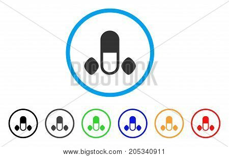Male Power Pills rounded icon. Style is a flat male power pills gray symbol inside light blue circle with black, gray, green, blue, red, orange variants.